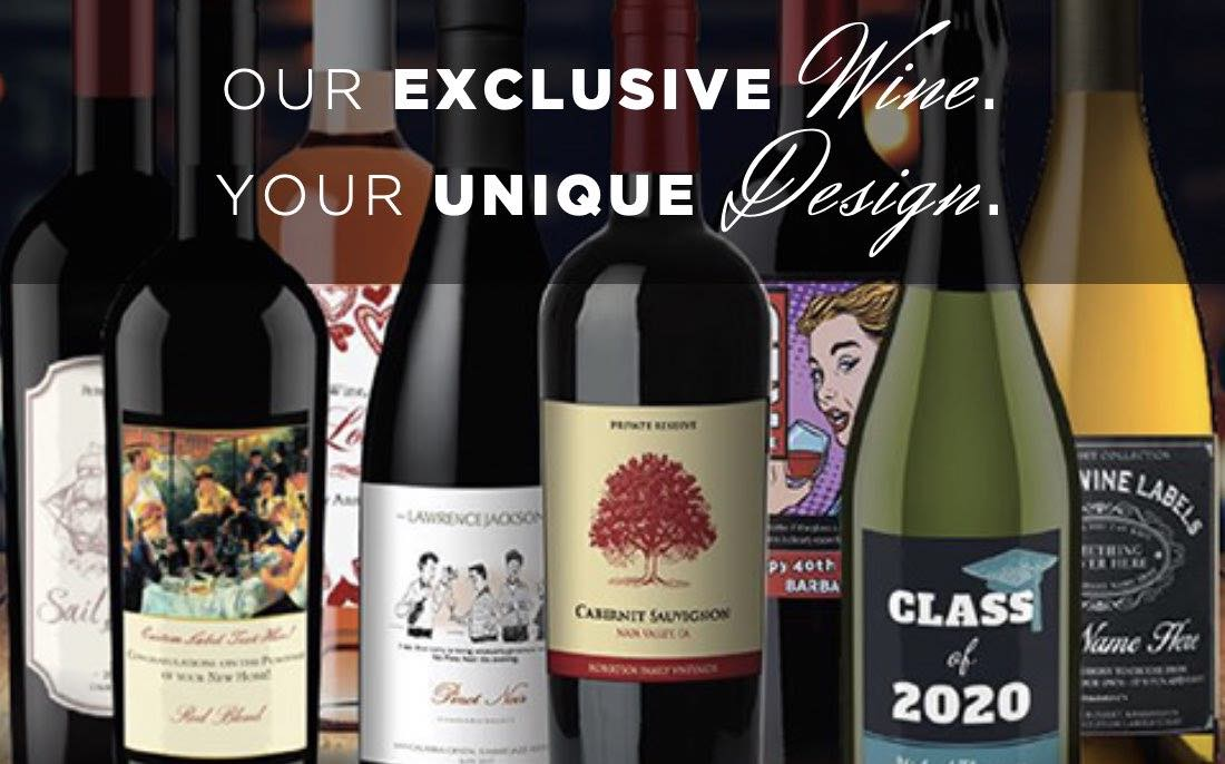 Photo of Custom label wine with personalized wine labels with a custom photo or logo and a unique message. Ideal for corporate gifting, referral thank you gifts or personal holiday presents