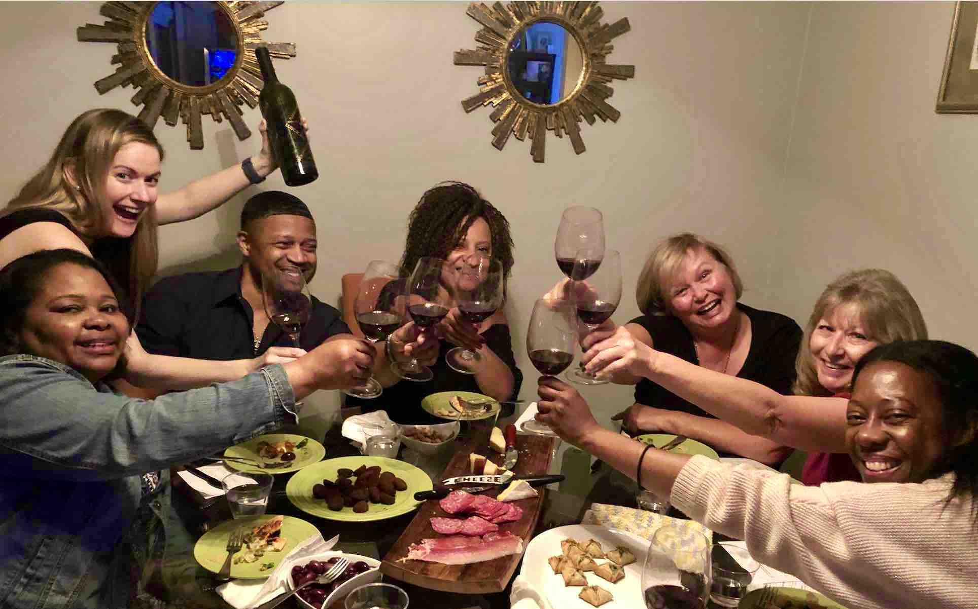 Photo of The Dean Team of Boisset wine ambassadors toasting wine glasses in Southern California. We help you start a wine business, earn extra money via great commissions and enjoy many perks like luxury trips to France, bonuses and prizes.