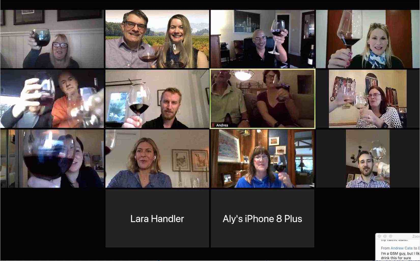 Photo of a Virtual Wine Tasting on Zoom with a Sommelier, Peggy Dean and her husband Brian, wine educator. Connect your group, reward your clients and treat your team with the Deans